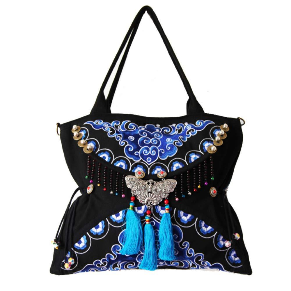 LZH Handtasche Ursprüngliche Doppelseitige Stickerei Weibliche Tasche Schmetterling Schulter Diagonal Stickerei Handtasche 36 50CM