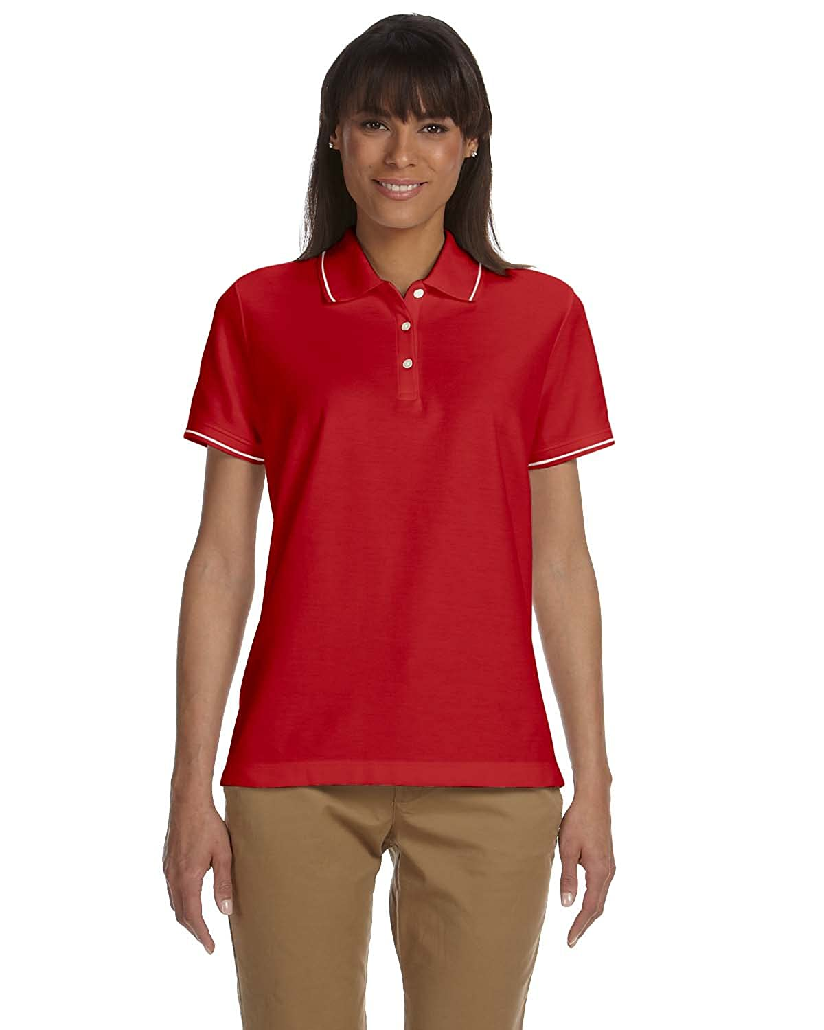 Devon & Jones Ladies Pima Piqué Short-Sleeve Tipped Polo D113W