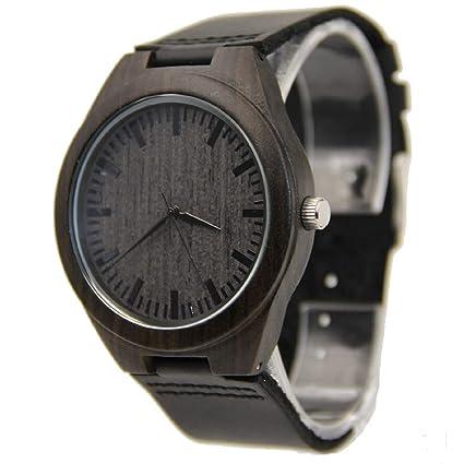 Mercimall - Reloj de madera para hombre, color negro, con correa de cuero