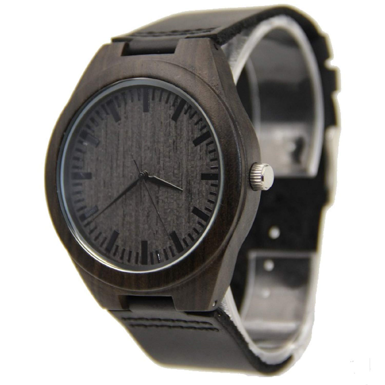 Mercimall BAB-B04 Unisex Negro Natural de madera del reloj de cuero reloj único Texturas