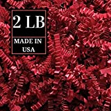 Crinkle Cut Paper Shred Filler for Packing and Filling Gift Baskets, Natural Craft Bedding in Brown Kraft Red Pink and White ... (2 LB, RED)