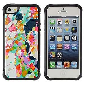 Híbridos estuche rígido plástico de protección con soporte para el Apple iPhone 5 / 5S - abstract paint oil spots colorful spring
