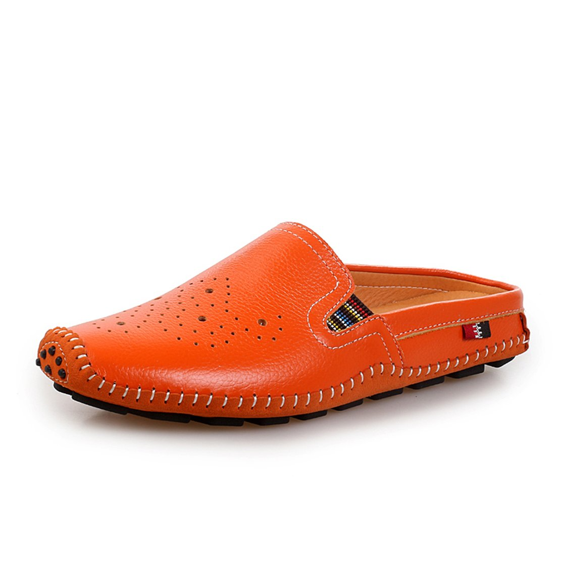 Go Tour Mens Mules Clog Slippers Breathable Punching Leather Slip on Shoes Casual Loafers (43 M EU/9.5 D(M) US, 1 Orange)