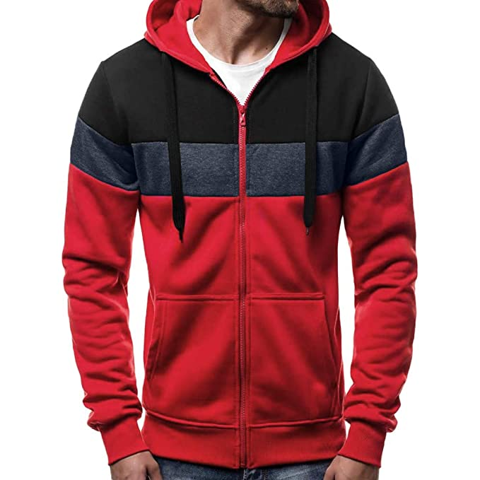 Amazon.com : Men Fashion Hoodie, Mens Long Sleeve Autumn Winter Patchwork Zipper Slim Hoodies Top Blouse Tracksuits : Sports & Outdoors