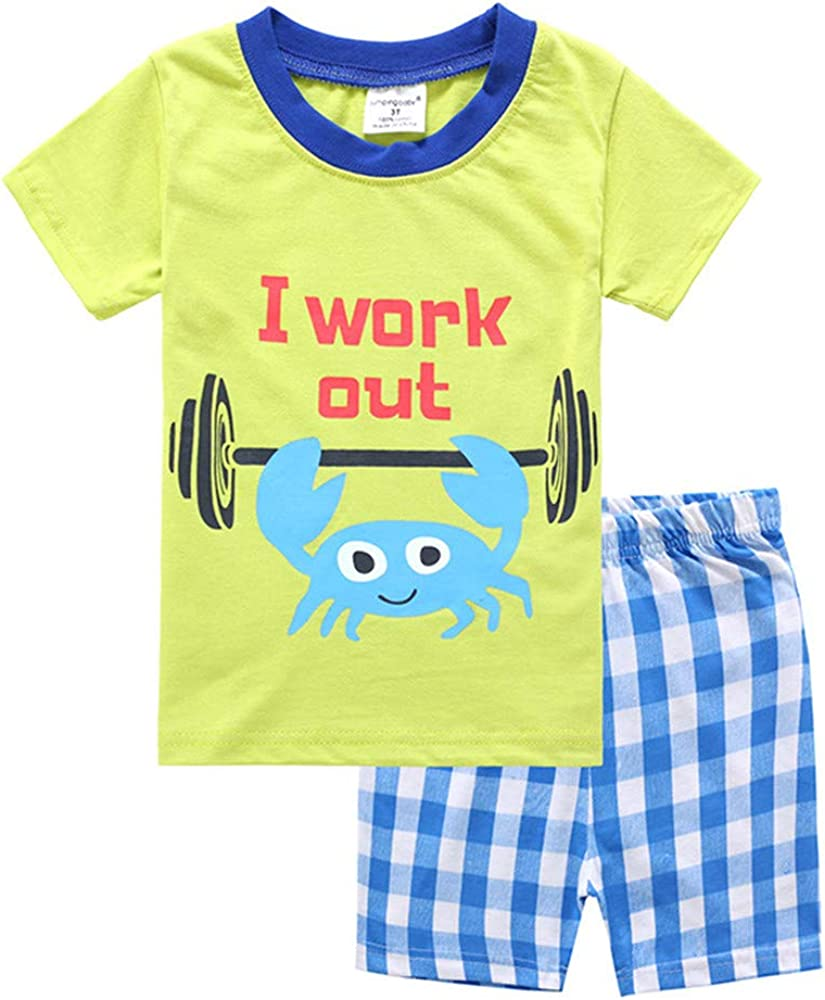 Estivo Bambina e Ragazze Pigiami Abbigliamento Pantaloni Corti Fansu Pigiama Cotone Manica Corta per Bambino Due Pezzi Pigiami Set T Shirt per 2-7 Anni