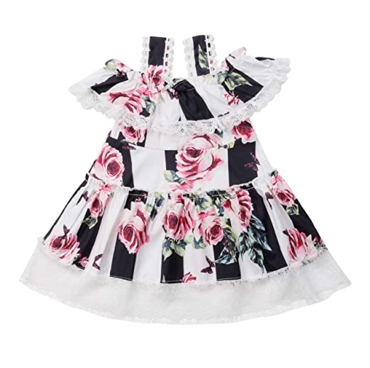a452c1a4576 Amazon.com  Cute Girls Flutter Sleeve Floral Dress Red Check Tutu Dress  O-Neck Sleeveless Unequal Length Dress Stripe Lace Dress  Clothing