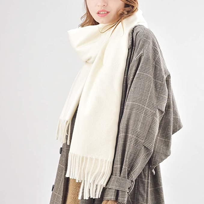 66a105f709fa6 Womens Winter Scarf Cashmere Feel Pashmina Shawl Wraps Soft Warm Blanket  Scarves for Women (One size, Cream-Thick) at Amazon Women's Clothing store