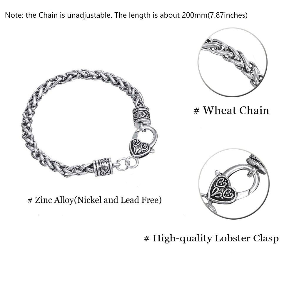 VASSAGO Double Face M/édaillon Amulette Talisman pour Good Luck Cl/é de Salomon de bl/é Bracelet cha/îne