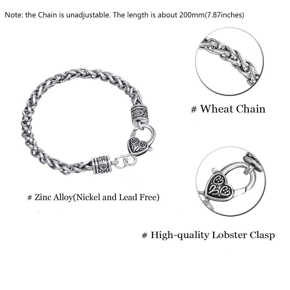 VASSAGO Vintage Gothic Viking Teen Wolf Crescent Moon Pendant Adorable Animal Wheat Chain Bracelet