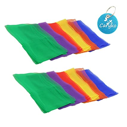 """Carykon 24"""" Hemmed Square Juggling & Dance Scarves for Creative Childhood Play Magic Show Ornament Hairstyle, 6 Colors, 12Pcs"""