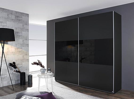 Armario de puertas correderas en Gris-metálico/negro aplicaciones, 2-puertas, 2 estantes, 2 barras, tamaño: B/H/T aproximadamente 175/210/59 cm: Amazon.es: Hogar
