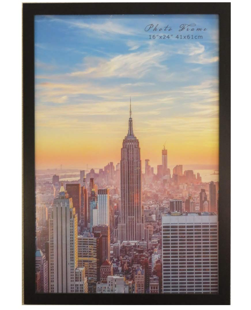 Frame Amo 16x24 Black Modern Wood Picture or Poster Frame, 1 inch Wide Border (1) by Frame Amo
