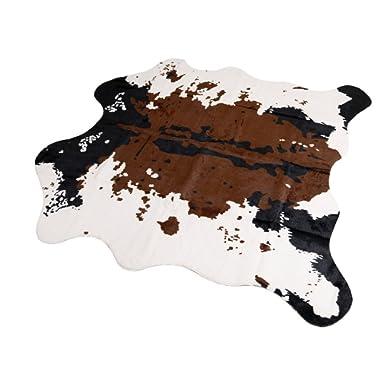 MustMat Brown Cow Print Rug 55.1  W x 62.9  L Faux Cowhide Rugs Cute Animal Printed Carpet for Home