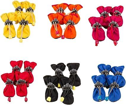 WOWOWO Scarpe per Cani Impermeabili Calzature Antipioggia Stivaletti da Neve Scarpe Antiscivolo per Cuccioli di Cane di Piccola Taglia Inverno Caldo