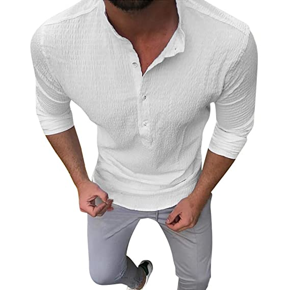 Internet-Camisa de Solapa de Color sólido Personalizada para Hombres, Sudadera de Manga Larga, diseño de Textura, Ajuste de Botones(M-3XL): Amazon.es: ...