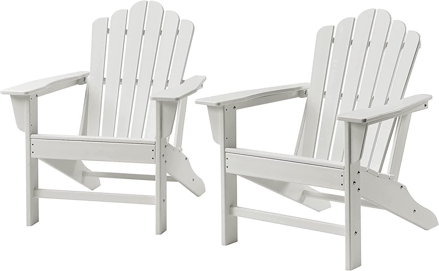 Ehomexpert Classic Outdoor Adirondack Chair Set of 2 for Garden Porch Patio Deck Backyard, Weather Resistant Accent Furniture, White