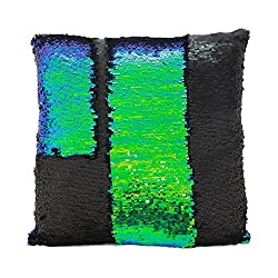 Fengheshun Reversible Sequins Mermaid Pillow Covers 4040 cm Magical Color Changing Pillowcase Christmas Decoration (Black+Green)