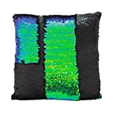 Color Changing Bathroom Mat Fengheshun Reversible Sequins Mermaid Pillow Covers 4040 cm Magical Color Changing Pillowcase Christmas Decoration (Black+Green)