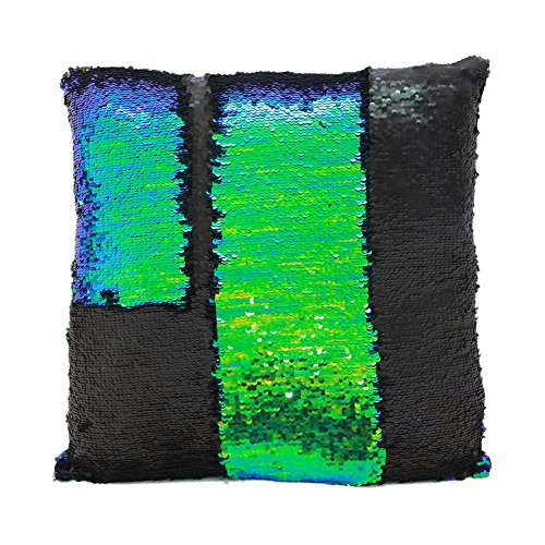Fengheshun Reversible Sequins Mermaid Pillow Covers 4040 cm Magical Color Changing Pillowcase Christmas Decoration (Black+Green) (Text Hoody White Green)