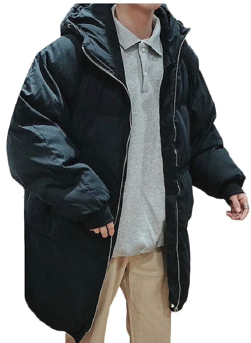 YIhujiuben Mens Thicken Mid Long Length Stylish Padded Zip Warm Winter Down Jacket Coat