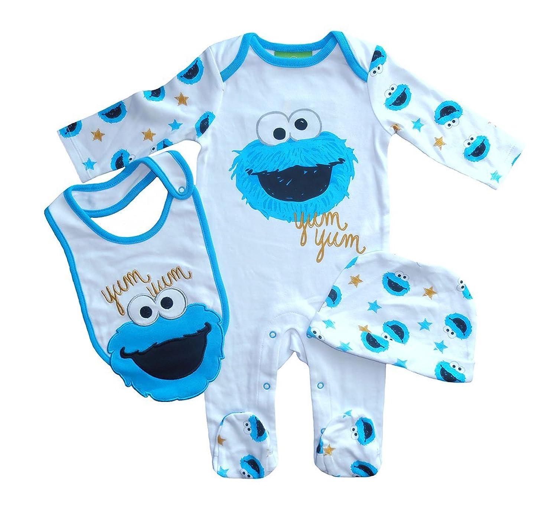 Baby Boy 3 Pcs Set Sesame Street COOKIE MONSTER Print Sleepsuit Bib