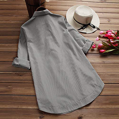 Sexy Sweat Tunique Chic Col en Lache Chemisier Chemise Longue Chic Boutons en Femme Top Treillis V Manche Chemise Femme Shirt Noir Blouse Grande Taille Rx5Bq6