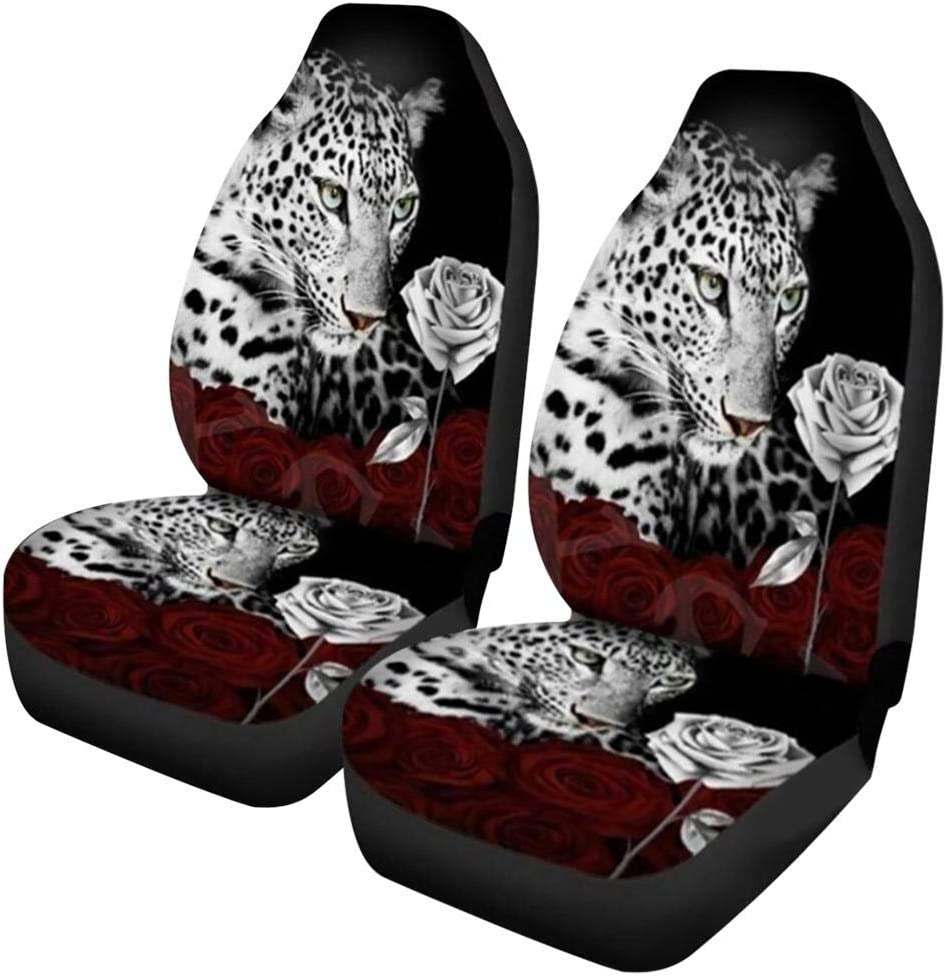 Knowled Car Seat Cover Waterproof Front Bucket Seat Cover Breathable Protective Pad With Tiger Leopard Prints Universal Size Car Seat Protector Fit Most Car Truck