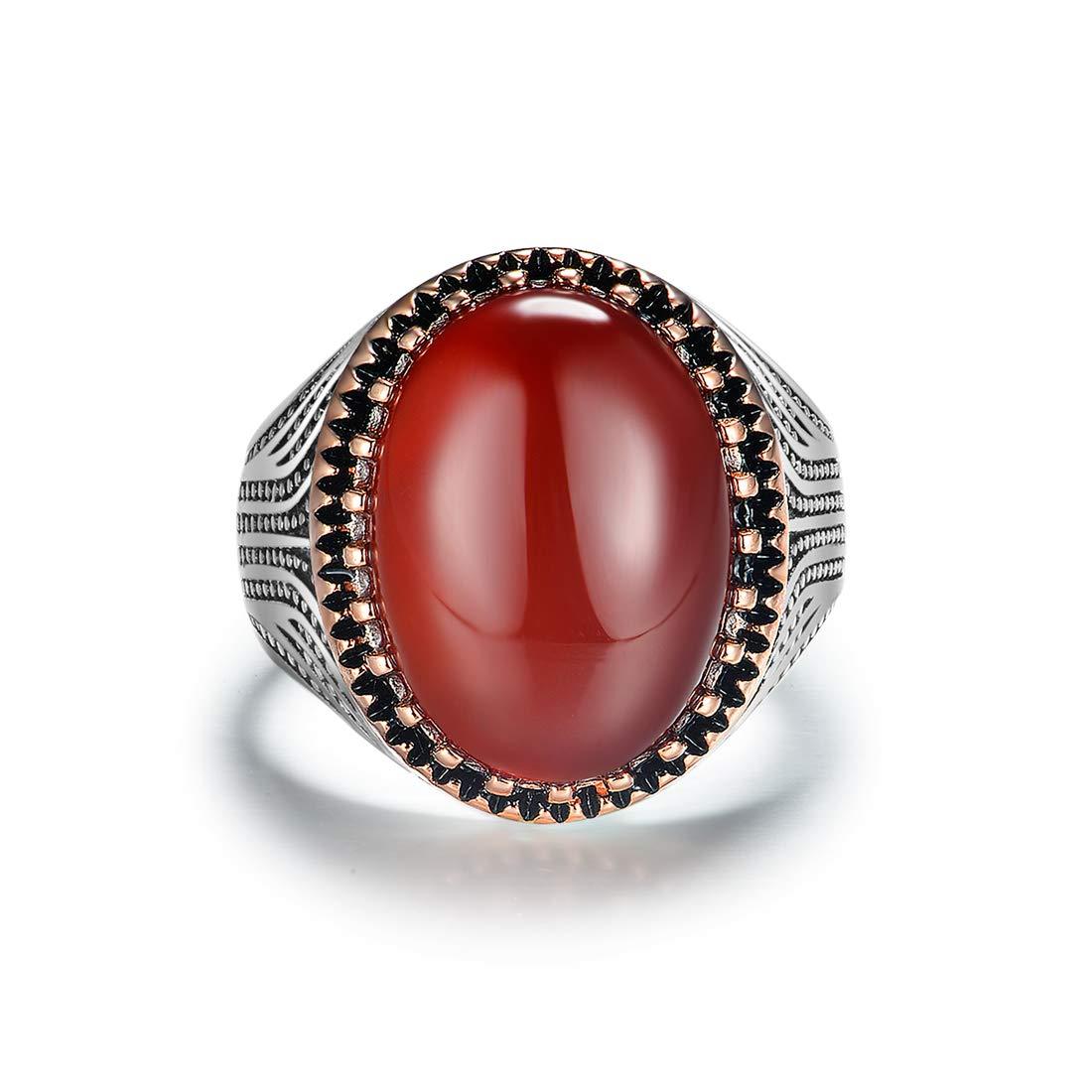 JiangXin Luxe Classique Agate Ovale Rouge Bague Homme Argent Sterling 925 Anneau en pour Fian/çailles Alliance Mariage Anniversaire Cadeau parfait