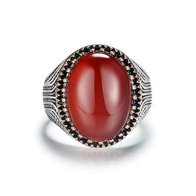 JiangXin Luxe Classique Agate Ovale Rouge Bague Homme Argent Sterling 925  réglable Anneau en pour Fiançailles 50af1e80e1e7