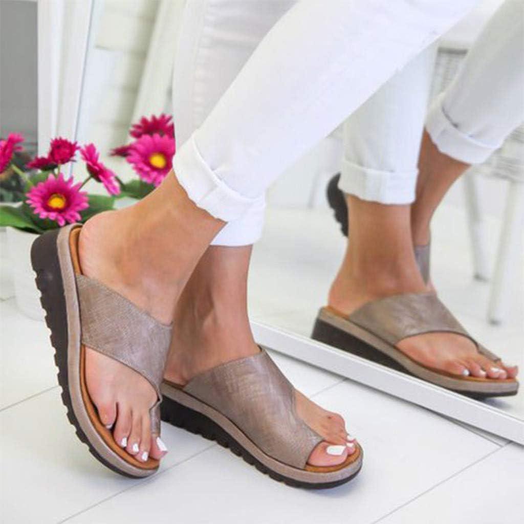 MORCHANFemmes Mode Plats COMPENS/ÉES Ouvert Toe Shoes Cheville Sandales de Plage Romaine Chaussons