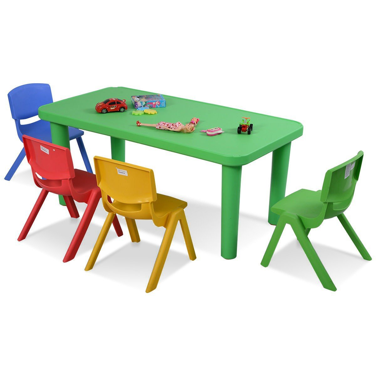 MD Group Kids Table Set Light-weight Colorful Plastic Table and 4 Chairs Children Furniture