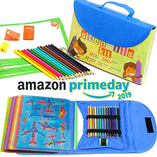 Stencil Drawing Kit for Kids w/ Carry Case - 54 pcs. w/ 280 Stencil Shapes and Colored Pencils - Arts and Crafts for Home Travel - Fun Creative STEM Toy for Girls and Boys Ages 3 to Teen - Blue