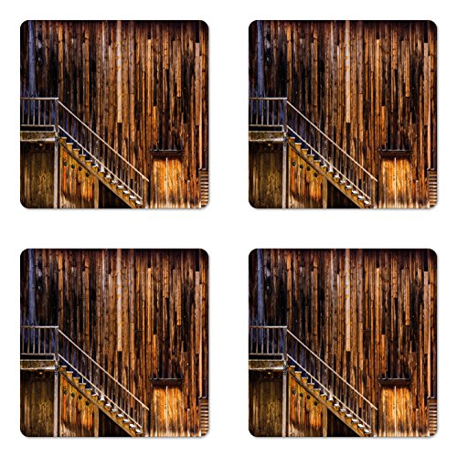 Western Coaster Set of Four by Lunarable, Wooden Cabin Structure Stairway Old Western Gold Rush Town in USA California, Square Hardboard Gloss Coasters for Drinks, Brown Orange
