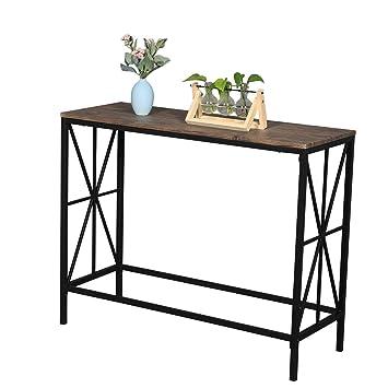 Table d/'appoint Brun Rustique LNT80BF Table de Salon pour Entr/ée VASAGLE Table de Console Montage Facile Salon Chambre Table dentr/ée