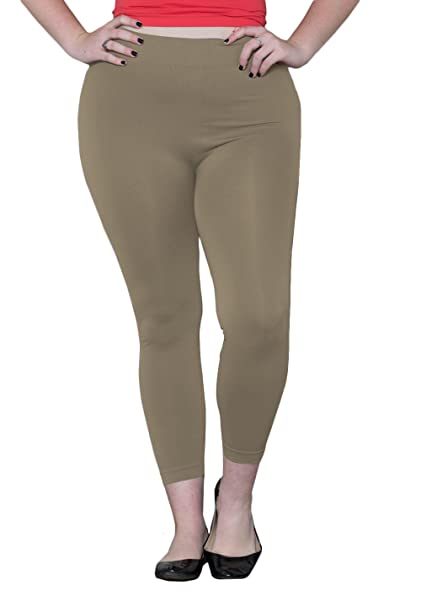 98c0e364950 Sealed with a Kiss Designs Plus Size Leggings - Seamless Leggings Onesize  Beige at Amazon Women's Clothing store:
