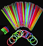Vivii Glowsticks, 100 Light up Toys Glow Stick Bracelets Mixed Colors Party Favors Supplies (Tube 100)