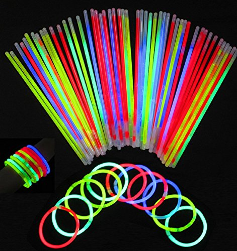 Glowsticks, Vivii 100 Light up Toys Glow Stick Bracelets Mixed Colors Party Favors Supplies (Tube of 100) (11 Years Old)