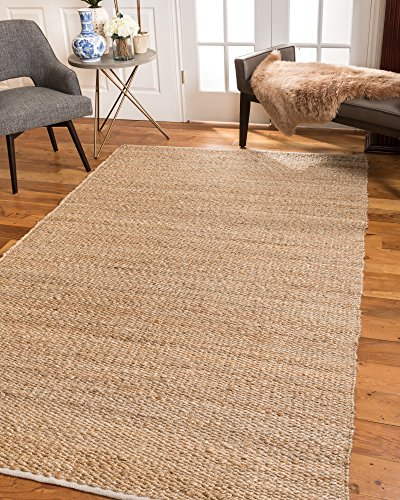 - NaturalAreaRugs 100% Natural Fiber Handmade Ravenna Hemp Cotton (8'X10') Rectangle Rug Beige