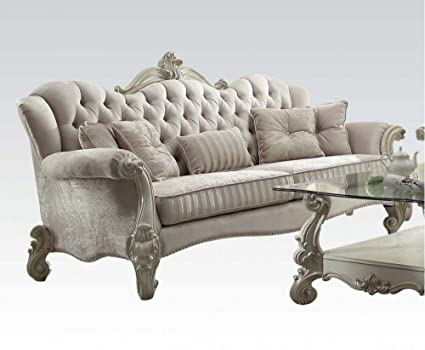 Amazon Com Acme Furniture 52105 Versailles Sofa W 5 Pillows Ivory