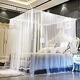 Funmo - Mosquitera, 4 Esquinas Mosquitera de cama cuadrada, Adecuado para Cama Individual o Matrimonio Anti mosquitos…