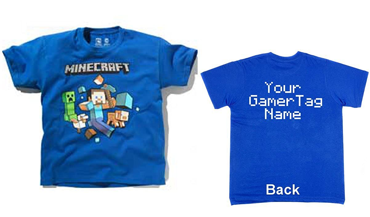 Official Minecraft Blue Boys T-Shirt With Your Gamer Tag, Name or TEXT  Personalised Custom T-shirt Consoles xbox one xbox 360 Ps3 Ps4 wii Birthday