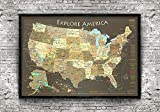 National Parks Push Pin Map - Brown Edition - Medium Sized Framed Map