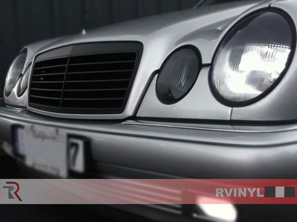 Rvinyl Rtint Headlight Tint Covers for Mercedes-Benz E-Class 2000-2002 Blackout Smoke Sedan//Wagon