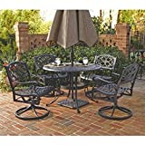 Home Styles 5554-325 Biscayne 5-Piece Outdoor Dining Set, Black Finish, 48-Inch For Sale