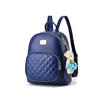66a83c471a765 Fanshu Damen Leder Rucksack Handtasche Schultasche Mädchen Freizeit  Reiserucksack Blau
