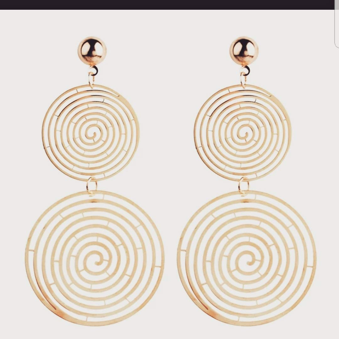 Staillans Fashion Double Round Hollow Spiral Pattern Drop Earrings for Woman Girls Exaggerate Long Dangling Ears Jewelry