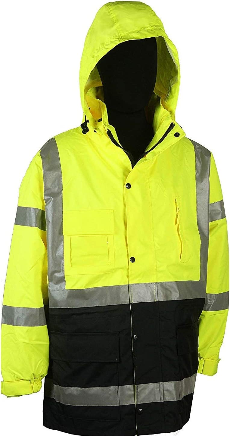 Safety Depot Two Tone Lime Yellow Black Reflective Class 3 Safety Parka Jacket With Zipper and Pockets 736c-3 (2XL)