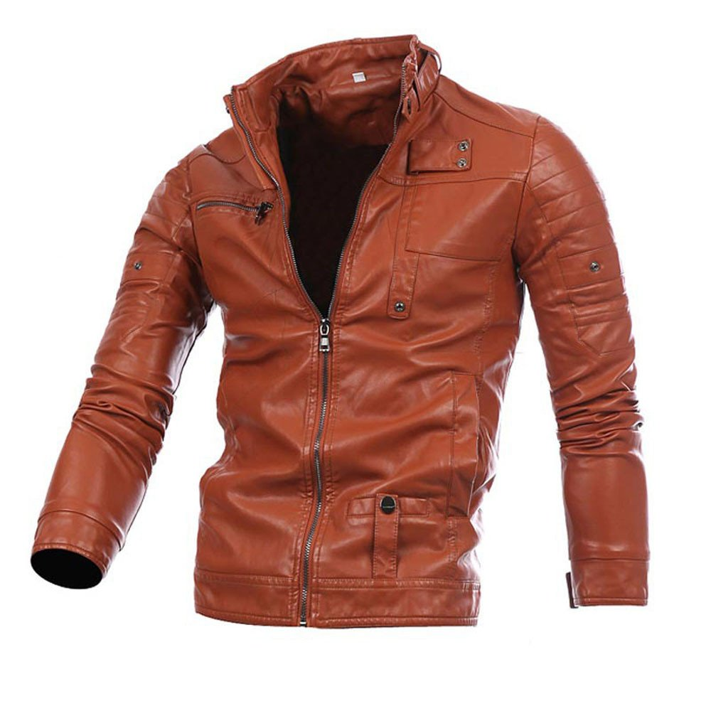 Men Warm Coat,Boys Leather Jacket Autumn Winter Biker Motorcycle Zipper Outwear (L, Brown) by Woaills-Tops