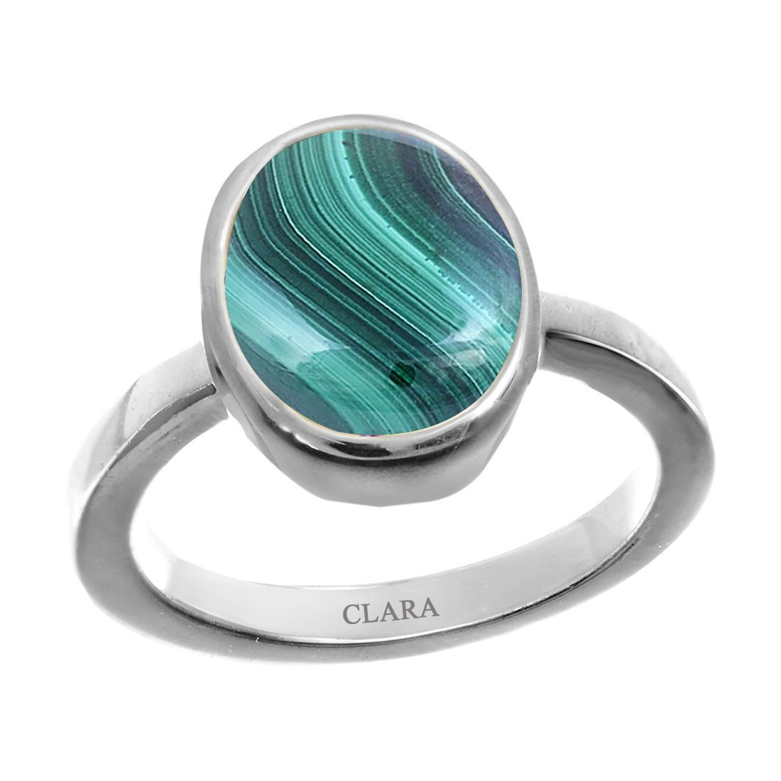 CLARA Certified Malachite 8.3cts or 9.25ratti original stone Sterling Silver Astrological Ring for Men and Women Daana Firang