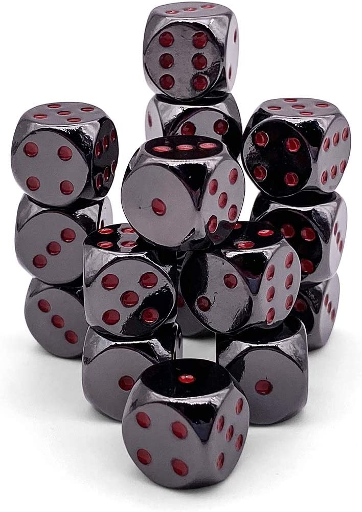 Nightmare Black D6 Metal Pips Dice Set of 16 with Tin Case by Norse Foundry